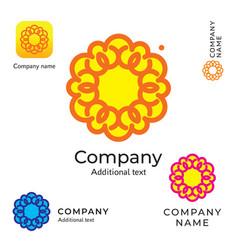 contour flower logo beauty modern identity brand vector image