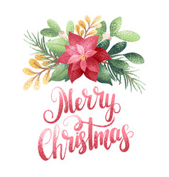 merry christmas poinsettia vector image vector image