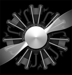 Radial airplane engine with propeller vector image