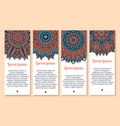 banners set of paisley or mandala pattern vector image
