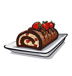 chocolate roll cake with strawberry vector image vector image