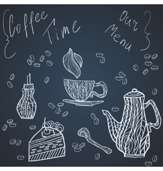 Coffee time set card vector image vector image