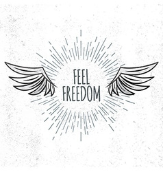 Feel Freedom lettering vector image