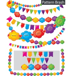 garland of flowers and flags vector image