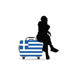 girl siting on travel bag with greece flag vector image