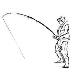 Hand pen sketch fishermen vector