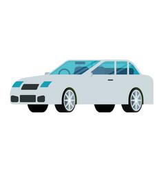 white sedan car icon in flat design vector image vector image