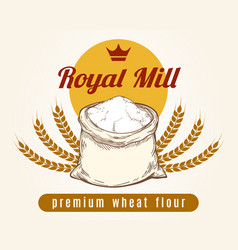 whole bag of wheat flour sketch vector image