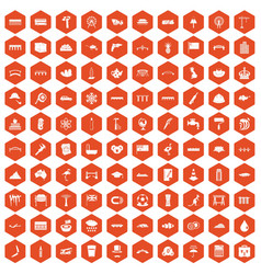 100 bridge icons hexagon orange vector