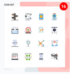 16 thematic flat colors and editable symbols vector