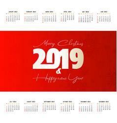 2019 christmas calendar design vector image