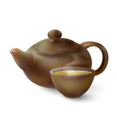 3d of a tea in brown ware vector