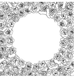 a lot beautiful outline rosebuds in round frame vector image