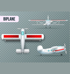 Airplane views set transparent realistic vector