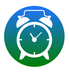 alarm clock sign white icon in bluish vector image