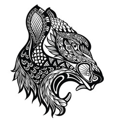 angry tiger face tiger tattoo isolated on white vector image