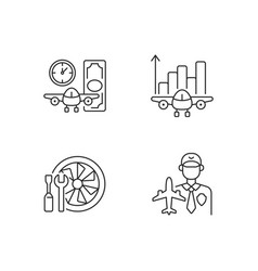 Aviation linear icons set vector