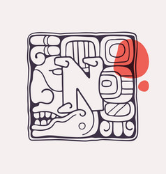 Aztec style letter n initial vector