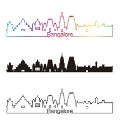 Bangalore skyline linear style with rainbow vector