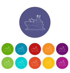 Battleship icons set color vector