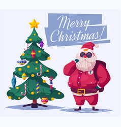 beautiful christmas tree and santa vector image