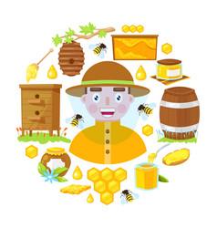 beekeeper and objects beekeeping vector image