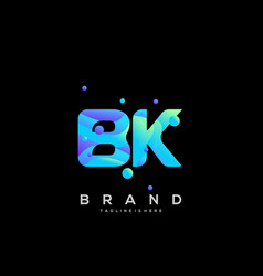 Bk initial logo with colorful template vector