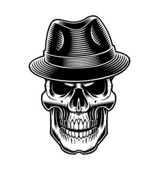 black and white of vintage sull in hat vector image