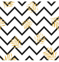 black stripes and golden textured leaves seamless vector image