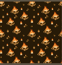 Burning bonfire firewood and flames on dark brown vector
