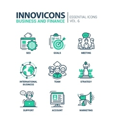 Business finance modern thin line design icons vector image