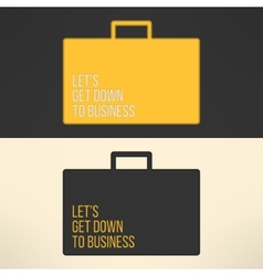 Business text background on a suitcase sign vector image