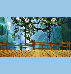 cartoon bridge on the background of dense jungle vector image