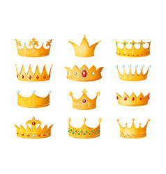 Cartoon crown golden emperor prince queen royal vector