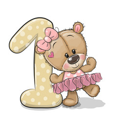 cartoon teddy bear girl and number one isolated vector image
