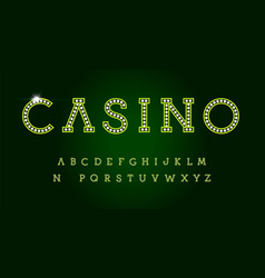 casino letters set on green background green vector image