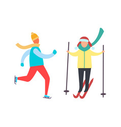 child skiing with sticks in hands winter skating vector image