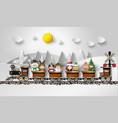 Children in fancy dress sitting on the train vector