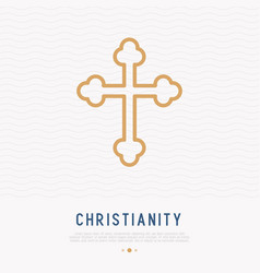 Christian cross thin line icon vector