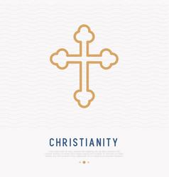 christian cross thin line icon vector image