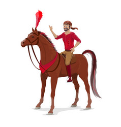 Circus rider on horse isolated on white vector