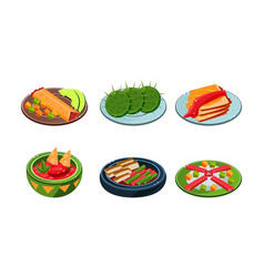 collection of mexican food traditional spicy meal vector image