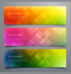 Colorful abstract banners set of three vector