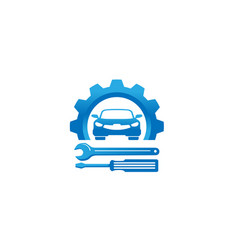 Creative blue gear car screwdriver logo design vector