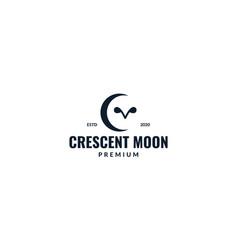 Crescent with owl eyes logo design vector
