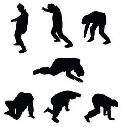 Drunk man silhouette vector