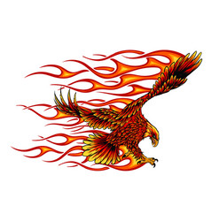 Eagle holding motorcycle engine with flames vector