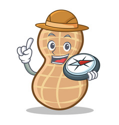 Explorer peanut character cartoon style vector