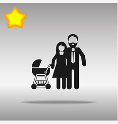 family with stroller black icon button logo symbol vector image
