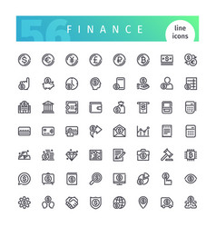 Finance line icons set vector